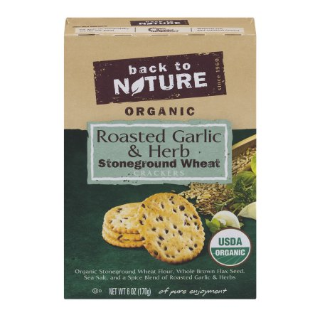 Back To Nature Organic Stoneground Wheat Crackers Roasted Garlic & Herb