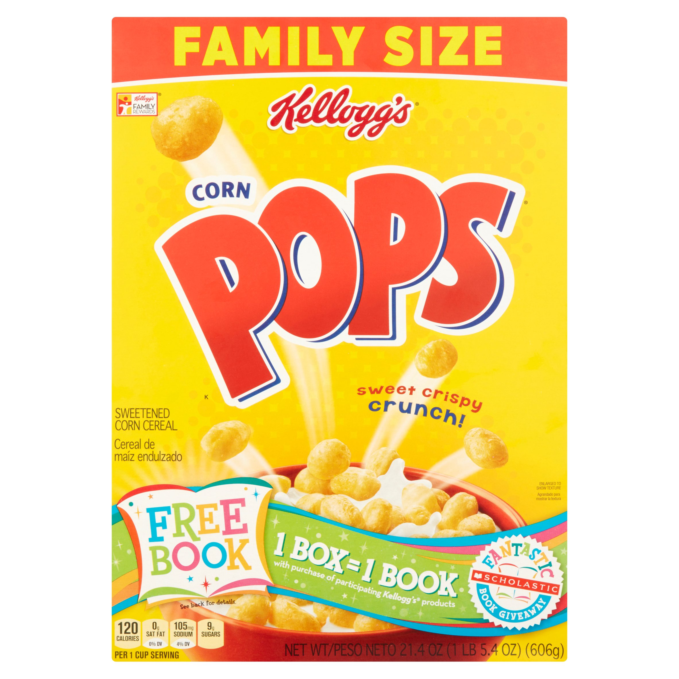 Kellogg's Corn Pops Sweetened Corn Cereal Family Size 21.4
