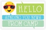 """Red Shades Smiley Face Hello Camp Post Cards ~Camp post card features a smiley face wearing red shades with the various cool colored thought bubbles with the message """"Hello. Sending you news. From Camp."""" for your camper to send back home."""