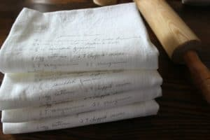 custom recipe tea towel