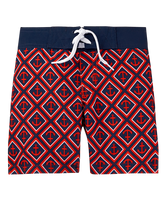 Ocean adventures await in our standout anchor print swim trunk. Features front tie and comfortable mesh liner. 100% Polyester Twill. Elasticized Back Waist. Machine Wash