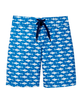 Dive into charming style in our shark print swim trunk. Designed with front tie and comfortable mesh liner. 100% Polyester Twill. Elasticized Back Waist. Machine Wash