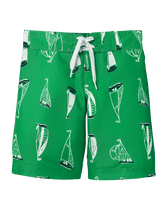 Our sailboat print swim trunk is a shore standout. Finished with front tie and comfortable mesh liner. 100% Polyester Twill. Elasticized Back Waist. Machine Wash