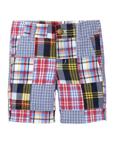 Pieced plaid patchwork for our charming short. Classic details include front pockets