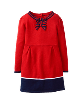 Sweet style wherever she goes in our soft colorblock sweater dress. Features grosgrain ribbon bows and navy trim throughout. 52% Viscose/28% Polyester/20% Nylon. Button Back. Machine Wash