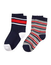Our classic sock set includes two standout stripe designs. Soft cotton is blended with nylon and spandex for stretch and hold. 86% Cotton/12% Nylon/2% Spandex. Textured Grips (Sizes Up To 18-24 Months). Machine Washable; Imported. Getaway Grove.