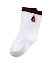 Intarsia-knit sailboat and striped trim for our comfortable sock. Soft cotton is blended with nylon and spandex for stretch and hold. Cotton/Nylon/Spandex. Textured Grips (Sizes Up To 18-24 Months). Machine Washable; Imported. Getaway Grove.