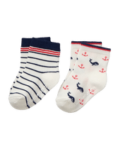Sock set features two seafaring designs—intarsia-knit whales and classic stripes. Soft cotton is blended with nylon and spandex for stretch and hold. Cotton/Nylon/Spandex. Textured Grips (Sizes Up To 18-24 Months). Machine Washable; Imported. Courtyard Blooms.