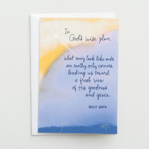 Good-Bye - In God's Wise Plan - 1 Premium Card Bless the heart of one who's embracing a new adventure and express how they will continue to stay in your prayers.Cover:In God's wise plan